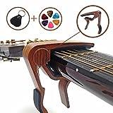 Gitarre Kapodaster Capo Capodaster für Anfänger und Profis Zubehör für Akustik & Elektrische Gitarren + 6 Gratis Plektren & Tasche