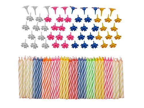 Decorative 152 Pc Birthday Candles Set with easy-to-use Holders angel flames with coloured Birthday Cake Party Candles - Multi Coloured by Sch?ne Memories (UK)