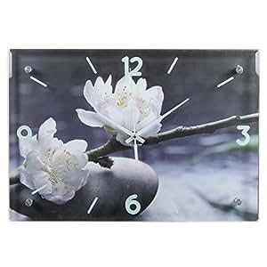 Horloge fleurs blanches - Pendule rectangulaire - Ambiance Zen