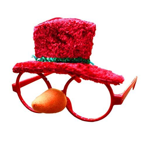 Kicode Regali rossi divertenti Vari stili Partito di Natale Props Decorazione Telaio degli occhiali Per il compleanno del bambino Costume di Cosplay
