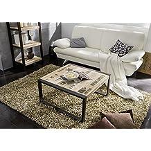 table basse industrielle 80x80cm bois massif de manguier brut fer et bois imprim