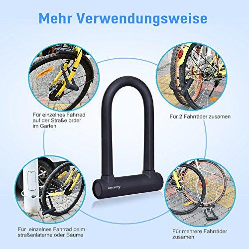 Fahrrad Bügelschloss, Amarey Fahrrad schloss Set U-Bügel-Fahrradschloss + Stahl-Schlaufenkabel + Halterung + 3 robuste Schlüssel aus Messing - 6