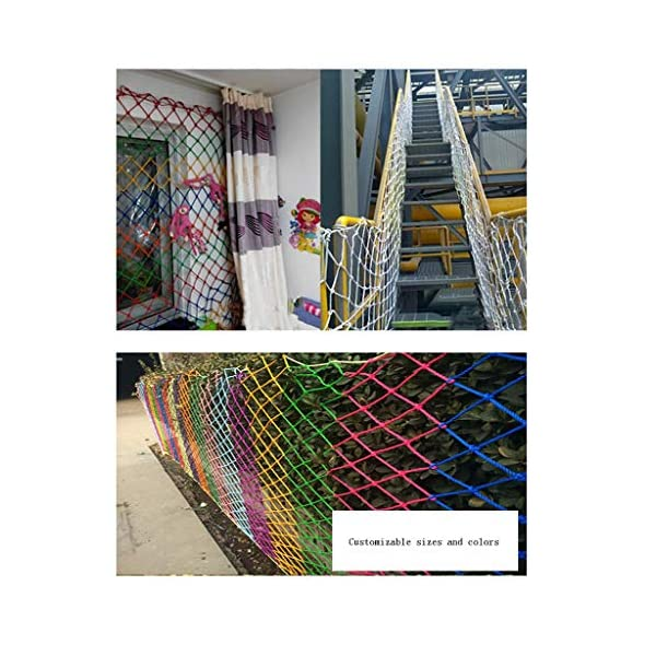 Outdoor Protection Net, Child Safety Net Stairs Balcony High Altitude Anti-fall Net Nylon Net Venue Fence Net Pet Isolation Net Goods Network Can Be Customized Size (Size : 10 * 10M(33 * 33ft))  ◆ Safety net wire diameter 6MM, mesh spacing 10CM. Color: Color rope net. The protective mesh can be customized to the mesh spacing and color you want. ◆Nylon rope net, hand-made woven net, lightweight child safety fence net, high-grade sturdy woven fabric, professional knotting, multi-strand weaving, make the rope more durable, have strong impact resistance, and protect children's safety. ◆The rope net is suitable for various scenes, door and window corridors, stairs, balconies, railings, kindergartens, amusement parks, public facilities, landscape fences, exterior walls, plant protection nets, etc., which can be used to protect your baby's safety. 4
