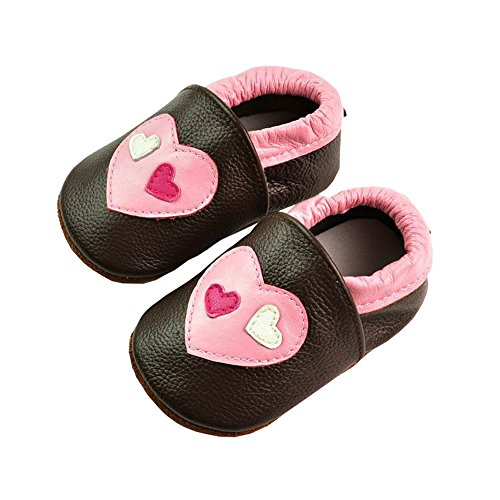 Vesi-Chaussures Bébé Cuir Souple Chaussons Premiers Pas Respirant pour Garçon Fille Nourrisson Efant Cœur Taille XL:18-24 Mois Cœur