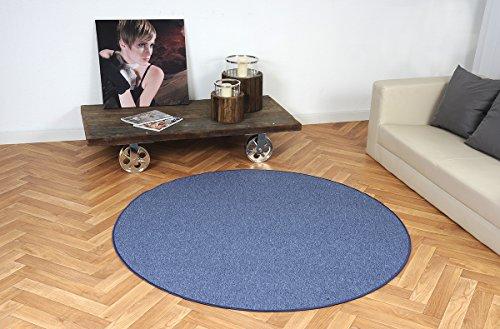 Schlingen Teppich Torronto Blau rund nach Maß - versandkostenfrei schadstoffgeprüft pflegeleicht antistatisch schmutzresistent robust strapazierfähig Wohnzimmer Kinderzimmer Schlafzimmer Küche Flur, Größe Auswählen:200 cm rund