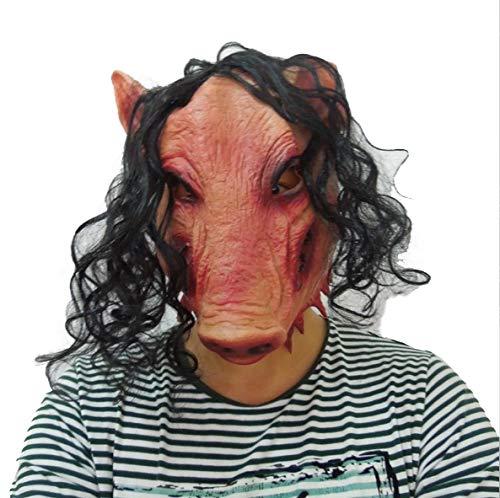 JIGSAW SAW Schweine Maske mit Kunsthaaren - perfekt für Fasching, Karneval & Halloween - Kostüm für Erwachsene - Latex, Unisex - Jigsaw Saw Kostüm