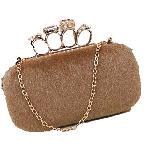 Lawevan collecte des sacs de femmes dames fausse fourrure crâne boîte cluth sacs de sacs à main d'anneau de Knuckle Brown