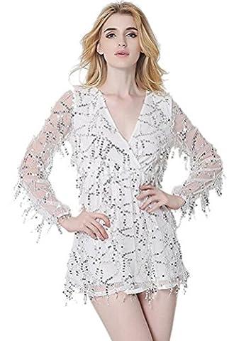 SunIfSnow - Robe spécial grossesse - Tunique - Uni - Manches Longues - Femme - blanc - XL