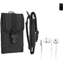 Top Set per Nokia 6 (2018) marsupio custodia cassa del telefono calotta di protezione Smartphone sacchetto holster cintura nero pianura semplice eleganza funzionale Protettiva verticale Cover Bag per Nokia 6 (2018) nero + cuffie - K-S-Trade(R)