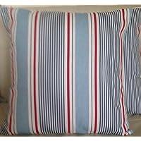 Juego de 2 fundas para cojines de rayas marineras, rojo y azul, 40 cm