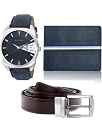 Laurels Analogue Blue Dial Men's Watch , Wallet & Belt Combo - Cp-Inc-203-Rvn-0303-Vt-0209