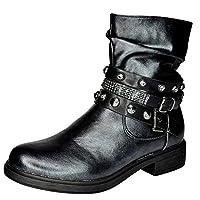 Glitz LONDON Womens Black Stud Buckle Strap Biker Boots Flat Casual Winter Ankle Boots Size
