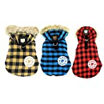 SELMAI Classic Small Dog Coat Harness D-ring Hook Hooded Plaid Satin Lined Soft Warm Winter Check Jacket Puppy Pet Cat… 3