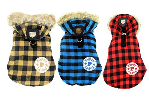 SELMAI Classic Small Dog Coat Harness D-ring Hook Hooded Plaid Satin Lined Soft Warm Winter Check Jacket Puppy Pet Cat… 1