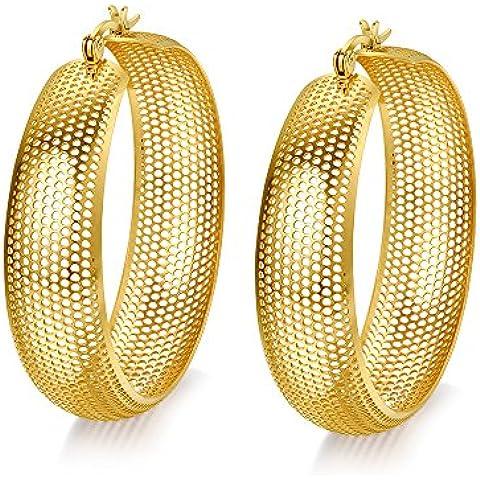 MG Jewelry–Pendientes de aro para mujer, acero inoxidable chapado en oro de 18ct, 13mm, diseño de malla, cierre de enganche en parte superior