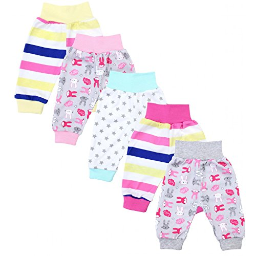 TupTam Unisex Baby Pumphose Jersey Schlupfhose 5er Pack, Farbe: Mädchen 3, Größe: 92