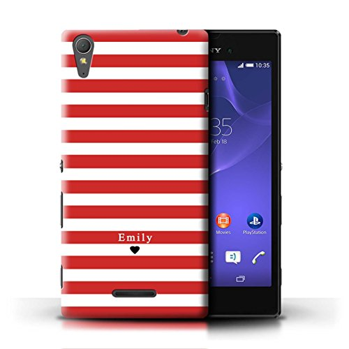 Personalisiert Individuell Streifen/Gestreift Hülle für Sony Xperia T3 / Rot Streifen Herz Design/Initiale/Name/Text Schutzhülle/Case/Etui