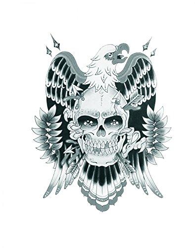 Halloween Tattoo für Erwachsene Adler mit Schädel realistisch und ungiftig gefälschten ()