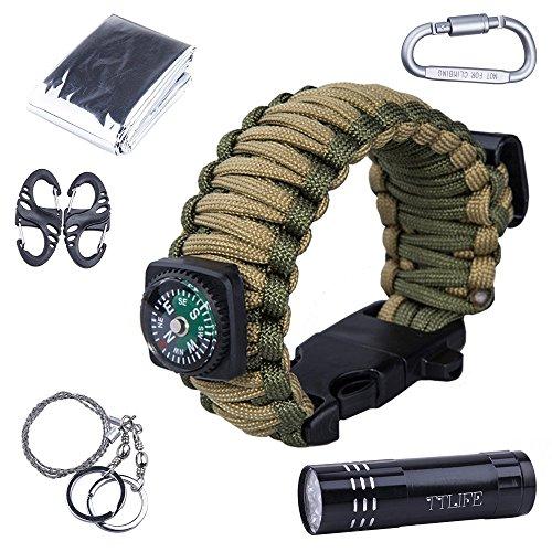 HUKOER Survival Kit Paracord Armband mit Kompass, Flaschenöffner, Whistle, Feuer-Starter und LED-Taschenlampe, Notfall-Decke, Karabiner, Karten-Messer, Draht-Säge