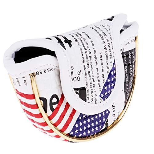 Toygogo Golf Stars and Stripes USA Bandera De Estados Unidos Mallet Putter Head Cover Half-Mallet Headcover - Compacto E Impermeable - 2 Tamaños - Semicírculo pequeño