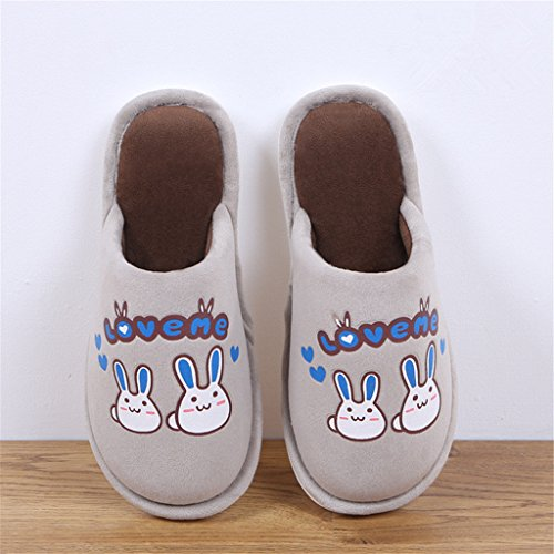 Hausschuhe Winterdruck Haus Hausschuhe Baumwolle Warm Faux Pelz Pantoffel Indoor Anti-Rutsch-Schuhe für Frauen Männer , brown , 44/45 (Brown Faux-pelz-stiefel)