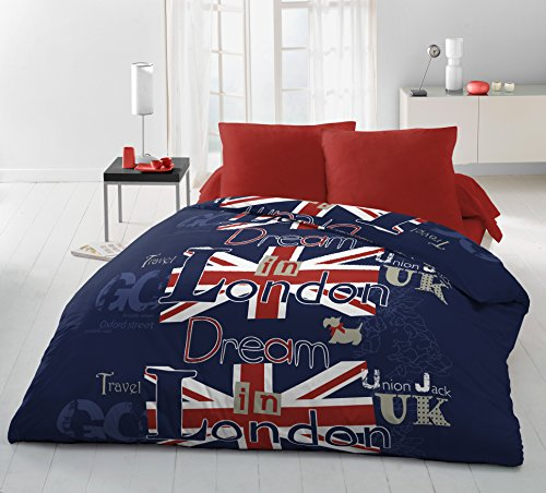 HOME LINGE PASSION Dream in London Parure de Couette 3 Pièces, Microfibre, Bleu-Rouge-Blanc,...