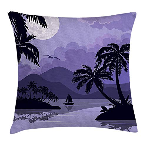 Nifdhkw Spa Decor Throw Pillow Cushion Cover, Composition Bamboo Tree Floor Mat Orchid Stones Wellbeing Greenery Art, Decorative Square Accent Pillow Case, 18 X 18 Inches, Green and Purple -