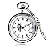 Reloj De Bolsillo Mecánico Retro Reloj De Bolsillo Antiguo Moda Plateado Moda Enfermera Números Romanos Plata