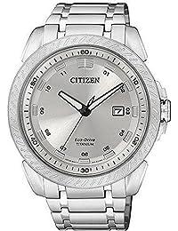Citizen AW1330-56A - Reloj analógico de cuarzo para hombre, correa de titanio multicolor
