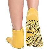 Cravog Chaussettes de Yoga/Pilates/Exercice Sport - Doigts de Pied Séparés - Antidérapantes - Avec Orteils - Grip Socks en Coton