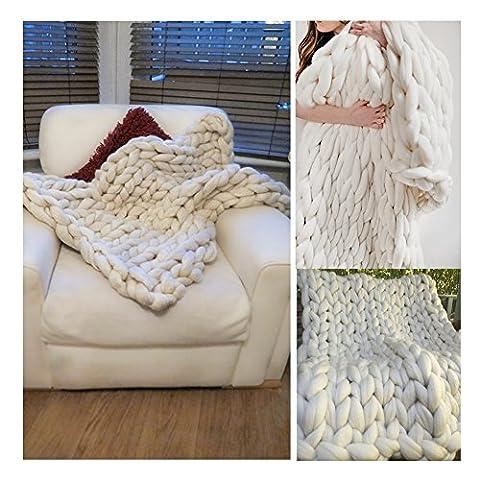 geschoben Arm Knit GIANT Überwurf Decke Garn Wolle Super Big Extreme Stricken Wrap klobigen Big Plaid, Wolle, weiß, 51x67 inches - 130x170cm - standard throw