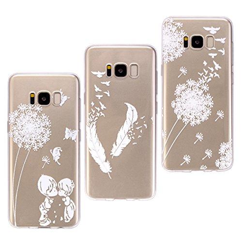 Galaxy S8 Plus Hülle Transparent, ZXK CO 3 Stück Weich TPU Silicone Hülle Case Durchsichtig Ultra Dünn Schutzhülle Handyhülle für Samsung Galaxy S8 Plus -Löwenzahn und Löwenzahn Liebhaber und Weiße Feder (Plus Tablet Samsung Galaxy)