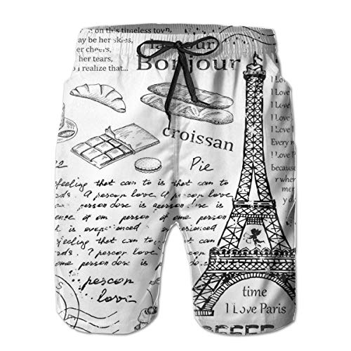 jiger Mens Beach Shorts Swim Trunks,Traditional Famous Parisian Elements Bonjour Croissan Coffee Eiffel Tower Print,Summer Cool Quick Dry Board Shorts Bathing SuitXL