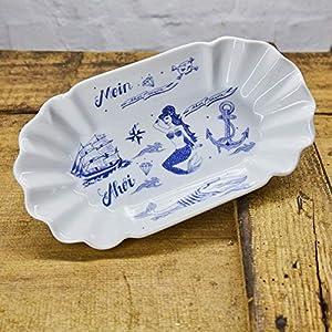 Pommesschale Porzellan - Handgemacht von Ahoi Marie - Motiv Seefahrer - Maritime Currywurst-Schale original aus dem Norden