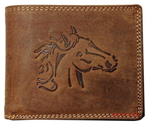 Hochwertige Geldbörse Geldbeutel Portemonnaie Büffel Wild Leder Pferd geprägt