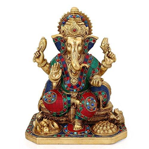 Elefanten-statue Türkis (craftvatika 33cm groß Ganesha Idol Messing Statue türkis Erfolg Skulptur Elefant Gott Figur Art Decor Geschenke)