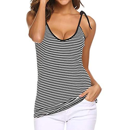 Watopi Frauen V-Ausschnitt Gestreifte Camisoles Spaghetti Basic Krawatte Knoten Backless Tank Top Yoga Shirt Oberteile
