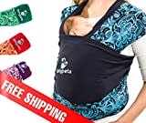Beruhigen sie ihr Baby & Erledigen sie anfallende Aufgaben - weiches Baumwoll Babytragetuch - Ideales Babytuch für Neugeborene und Kleinkinder - Perfekte Unterstützung beim stillen - BLAU