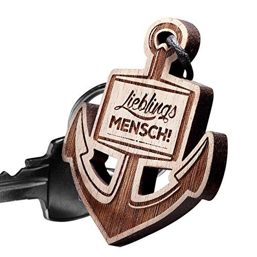 Preisvergleich Produktbild Schlüsselanhänger ANKER aus Holz Vorgraviert: Lieblingsmensch!