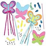 """Baker Ross Stabfiguren-Bastelsets """"Schmetterling"""" für Kinder zum Verzieren und Spielen (4 Stück)"""