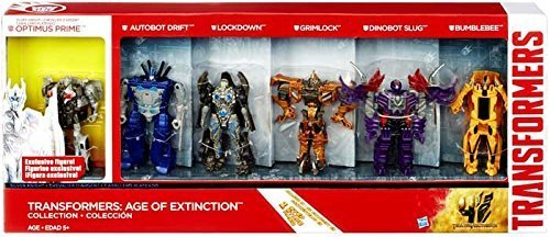 Transformers 4 Age of Extinction Exclusiv Action Figur 6-Pack / Set; Optimus Prime (Silver Knight Edition), Drift, Lockdown, Grimlock, Slug & Bumblebee