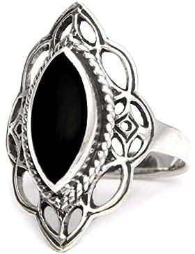 windalf Mittelalter Ring ~ LÚNA ~ h: 2.2 cm - Elfennacht - Schwarzer Onyx - 925 Sterlingsilber (r391)