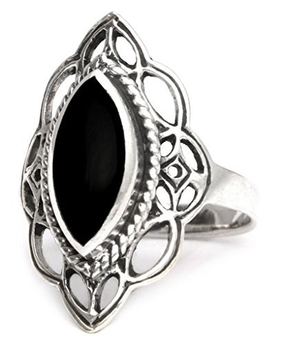 Windalf Mittelalter Ring LÚNA h: 2.2 cm Elfennacht Schwarzer Onyx Hochwertiges Silber (Silber, 58 (18.5))