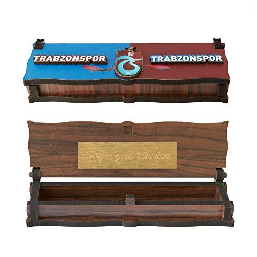 Gök-Türk Box Schatulle Aufbewahrung für Tesbih Gebetskette 'Trabzonspor' aus Holz Handgemacht (mit Gravur)