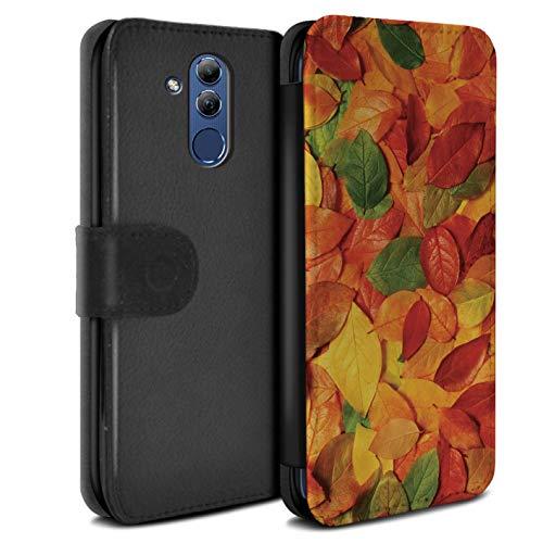 eSwish PU-Leder Hülle/Case/Tasche/Cover für Huawei Mate 20 Lite/Nussbaum/Orange Muster/Herbstblätter Kollektion -