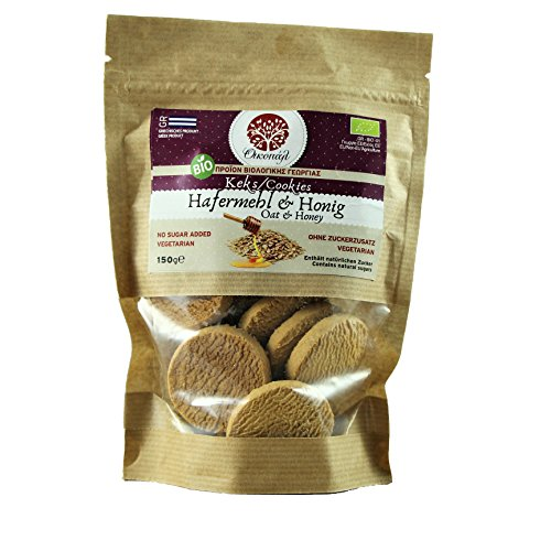 Bio Keks Hafer & Honig ohne Konservierungsstoffe, ohne Geschmackverstärker, ohne Zusatz von Zucker