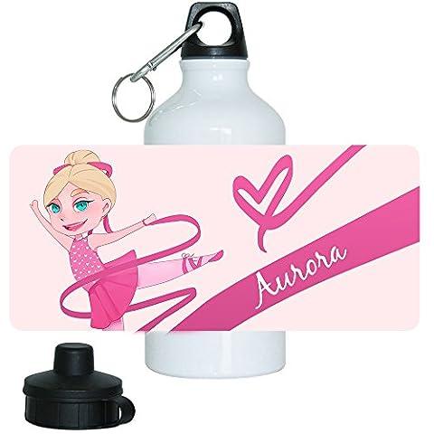 Trinkflasche mit Namen Aurora und schönem Motiv mit Tänzerin für Mädchen | Motiv-Trinkflasche | (Kind Aurora Ballerina)