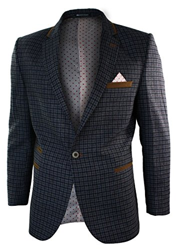 Hommes Slim Fit Gris laine à chevrons Vintage Vérifiez Blazer veste marron Garniture Elbow Gris