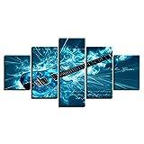 ZYBKOG 5 Peinture sur Toile Toile HD Impressions Photos Wall Art Salon Décor À La Maison 5 Pièces Bleu Guitare Électrique Peinture Rock M
