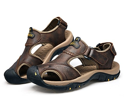 T-Gold Mens Leather Walking Sandals Outdoor Closed-toe Trekking Shoes(8 UK,Dark Brown)